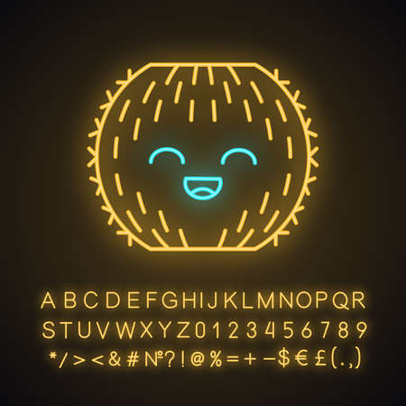 Barrel cactus cute kawaii neon light character. Cactus with smiling face. Echinocactus wild cacti. Funny emoji, emoticon. Glowing icon with alphabet, numbers, symbols. Vector isolated illustration Illustration