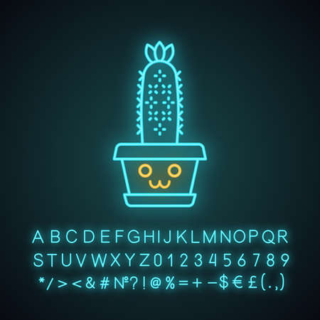Hedgehog cactus cute kawaii neon light character. Cactus with smiling face. Echinopsis home cacti in pot. Funny emoji, emoticon. Glowing icon with alphabet, symbols. Vector isolated illustration Illustration