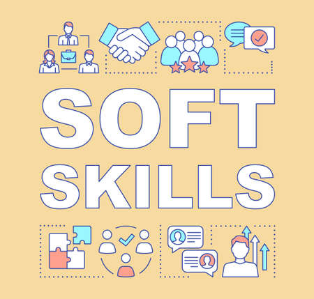 Soft skills word concepts banner. Teamwork idea, personal growth, professional relationship. Human resources presentation. Isolated typography idea with linear icons. Vector outline illustration Illustration