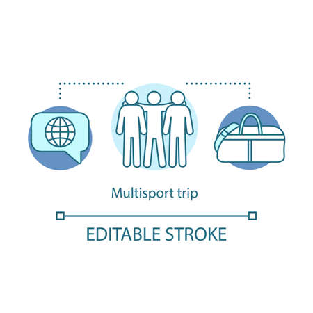 Multisport trip concept icon. Travel style idea thin line illustration. Active voyage. Tourist vacation offer. Traveling with friends. Extreme tourism. Vector isolated outline drawing. Editable stroke