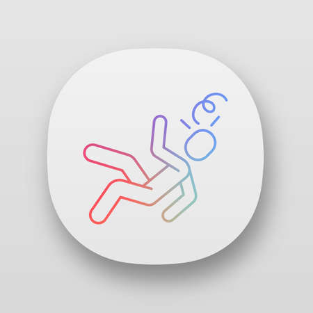Fainting app icon. Sun stroke, heart attack. Accident, injury. Dizziness, consciousness loss. Person falling. UI/UX user interface. Web or mobile application. Vector isolated illustration