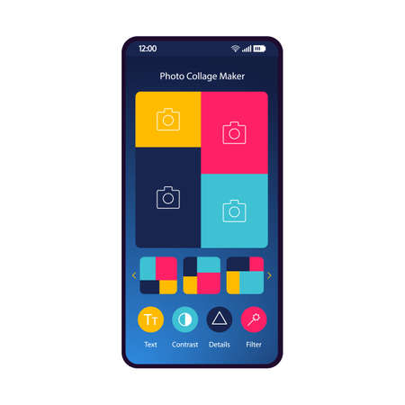 Photo collage maker smartphone interface template. Social media content creator mobile app layout. Pic collage online. Photography editing, enhancer. Photo editor application flat UI. Phone display