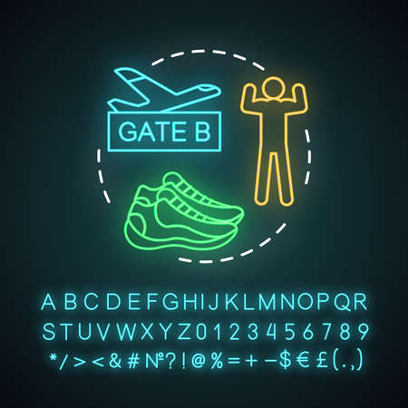 Multisport trip neon light concept icon. Travel style idea. Active voyage.  Extreme tourism. Vacation destinations. Glowing sign with alphabet, numbers and symbols. Vector isolated illustration Banque d'images - 128305590