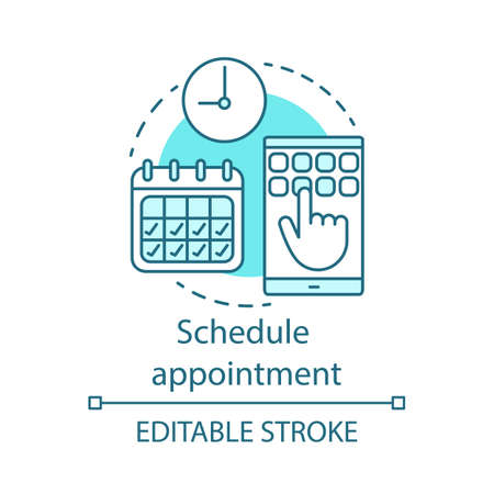 Schedule appointment concept icon. Meeting arrangement idea thin line illustration. Clinic center. Planning. Attendance timetable. Vector isolated outline drawing. Editable stroke