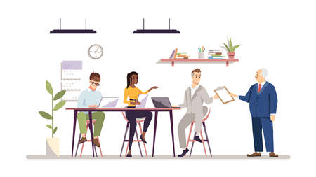 Office teamwork flat vector illustration. Boss with team working together. Businessman, entrepreneur with personal assistants isolated cartoon characters. Office work, project management concept