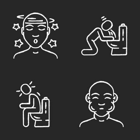 Food poisoning, allergy symptoms chalk icons set. Vomiting, diarrhea, constipation. Swelling, dizziness allergic reaction. Mumps, flu fever. Isolated vector chalkboard illustrations Иллюстрация