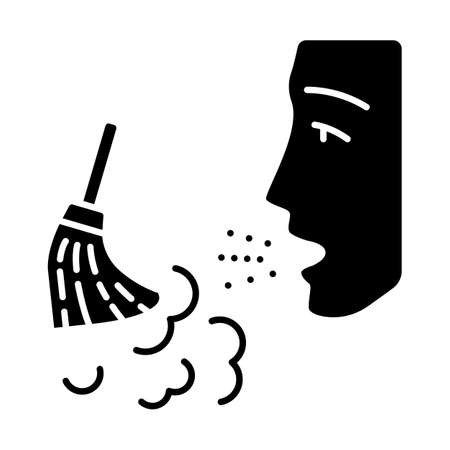 Dust allergy glyph icon. Airborne allergen source. Allergic reaction of immune system. Man breathes house dust. Respiratory disease. Silhouette symbol. Negative space. Vector isolated illustration Ilustração