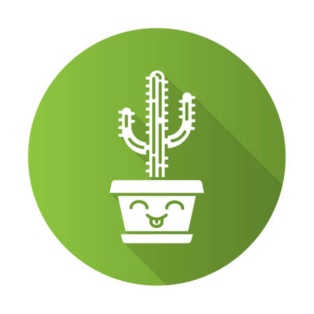 Saguaro flat design long shadow glyph icon. Cactus with smiling face. Home cacti with tongue out. Happy tropical plant in pot. Succulent houseplant. Vector silhouette illustration
