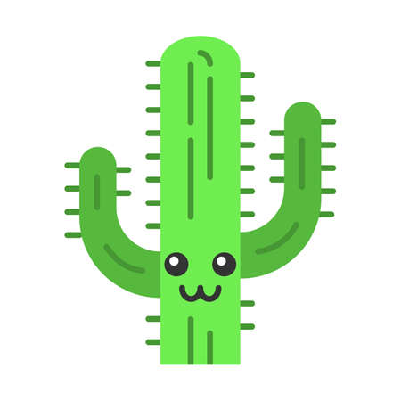 Saguaro flat design long shadow color icon. Cactus with smiling face. Wild cacti. American wildflower. Happy tropical plant. Houseplant. Succulent plant. Vector silhouette illustration