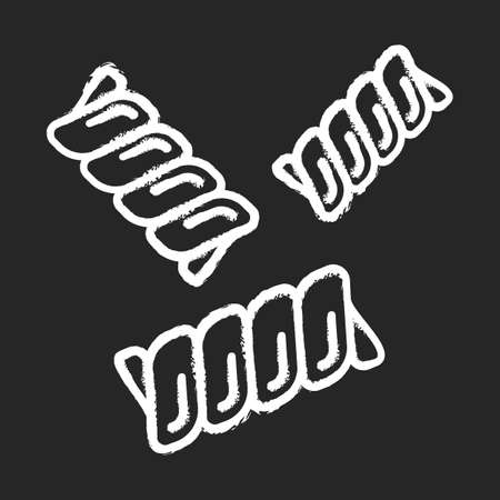Gemelli pasta chalk icon. Fusilli bucati, riccioli. Traditional Italian food. Spiral macaroni. Mediterranean cuisine. Dry dough product. Type of noodles. Isolated vector chalkboard illustration 일러스트