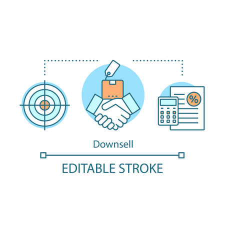 Downsell concept icon. Sale method idea thin line illustration. Automated sales funnel. Lower decision threshold. Cheaper alternative of product. Vector isolated outline drawing. Editable stroke