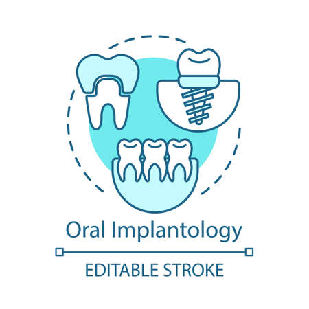 Oral implantology concept icon. Cosmetic dentistry. Implant and crown installation. Teeth treatment and restoration idea thin line illustration. Vector isolated outline drawing. Editable stroke