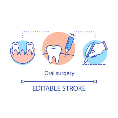 Oral surgery concept icon. Tooth extraction under anesthesia. Surgical intervention. Dental diagnosis and treatment idea thin line illustration. Vector isolated outline drawing. Editable stroke