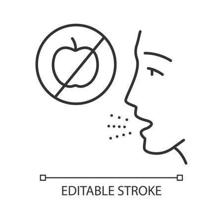 Fruits allergy linear icon. Food intolerance. Human allergic to apples. Restrictive diet. Medical problem. Thin line illustration. Contour symbol. Vector isolated outline drawing. Editable stroke