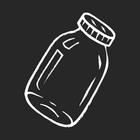 Glass jars chalk icon. Zero waste. Empty can with metal lid. Food conservation. Homemade jam, marmalade, honey storage. Empty canning jar. Preserve glassware. Isolated vector chalkboard illustration