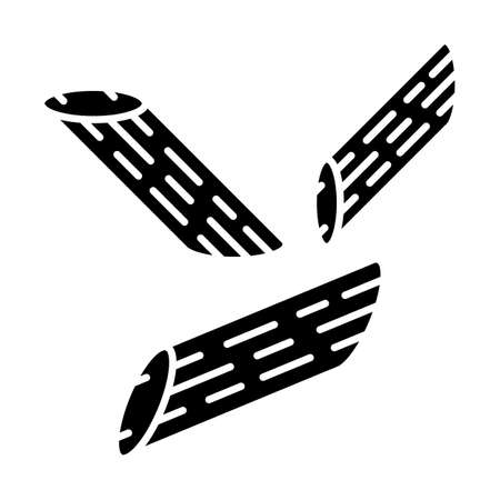 Penne glyph icon. Italian dish. Short-cut pasta. Pennoni, mostaccioli. Straight cut diagonally macaroni. Mediterranean food. Noodles. Silhouette symbol. Negative space. Vector isolated illustration