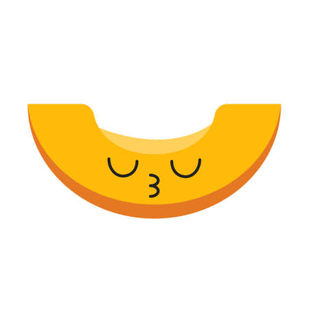 Melon cute kawaii flat design long shadow character. Berry with closed eyes. Embarrassed and sad food. Funny emoji, emoticon, kiss. Vector isolated silhouette illustration