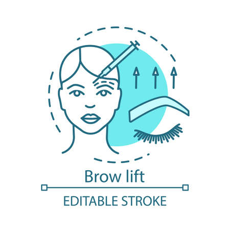 Brow lift concept icon. Cosmetic procedures idea thin line illustration. Forehead lift. Rejuvenation. Forehead and brow skin raising. Vector isolated outline drawing. Editable stroke