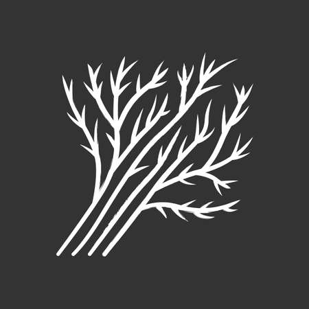 Dill leaves chalk icon. Seasoning agriculture plant. Aromatic herb leaves. Salad ingredient. Healthy nutrition. Greenery. Vegetable farm. Vegetation. Isolated vector chalkboard illustration Illusztráció