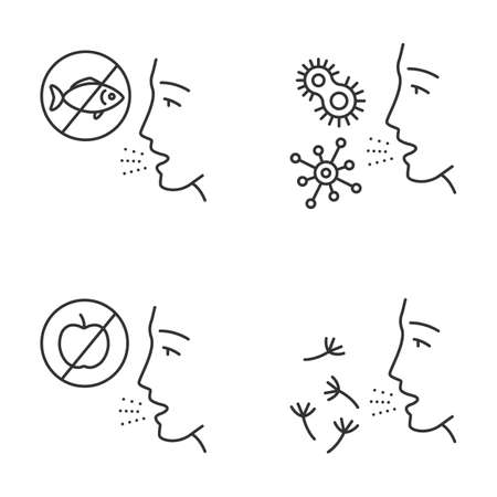 Allergies linear icons set. Food, pollen, bacteria intolerance. Allergen sources. Allergic diseases. Medical problem. Thin line contour symbols. Isolated vector outline illustrations. Editable stroke