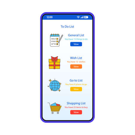 To do list smartphone interface vector template. Mobile app page white design layout. Wish, shopping, go to lists screen. Flat UI for application. Tasks manager. Add to favorites. Phone display