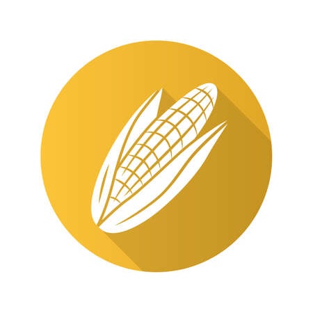 Corn flat design long shadow glyph icon. Maize. Agriculture plant. Popcorn ingredient. Vegetable farm. Healthy nutrition. Vegetarian and vegan food. Vegetable farm. Vector silhouette illustration