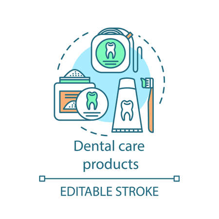 Dental care products concept icon. Caries prevention. Toothpaste, tooth powder, dental floss. Oral hygiene routine idea thin line illustration. Vector isolated outline drawing. Editable stroke