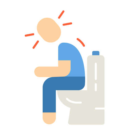 Diarrhea, constipation flat design long shadow color icon. Allergy, food poisoning symptom. Upset stomach, indigestion. Rotaviral enteritis. Person sitting on toilet. Vector silhouette illustration Illustration