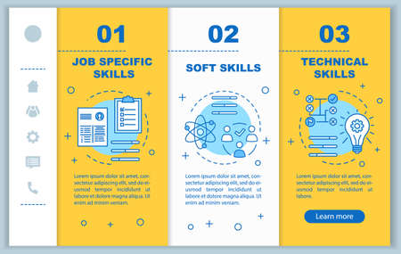 Job skills onboarding mobile web pages vector template. Responsive smartphone website interface idea with linear illustrations. Webpage walkthrough step screens. Yellow color concept