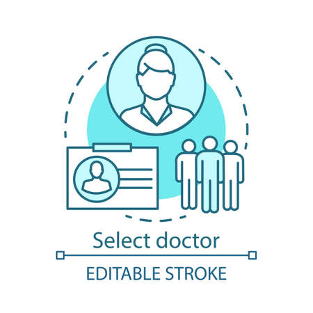 Choose doctor concept icon. Medicine specialist idea thin line illustration. Hospital staff. Physician. Surgeon. Medical practitioner. Vector isolated outline drawing. Editable stroke