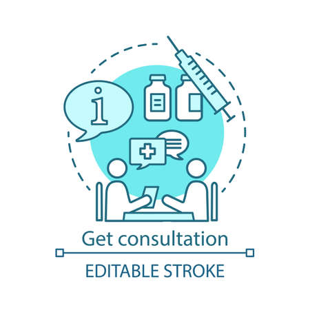 Get consultation concept icon. Health check idea thin line illustration. Clinic center. Doctor appointment. Disease prevention . Vector isolated outline drawing. Editable stroke