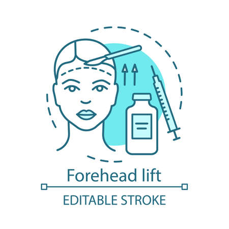 Forehead lift concept icon. Reduce face wrinkle lines idea thin line illustration. Surgical procedure. Brow lift. Rejuvenation. Droopy eyelids. Vector isolated outline drawing. Editable stroke Illustration