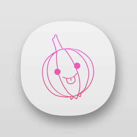 Onion cute kawaii app character. Happy vegetable with smiling baby face and stuck out tongue. Laughing food. Funny emoji, emoticon, smile. Vector isolated illustration