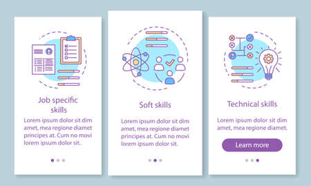 Skills onboarding mobile app page screen with linear concepts. Job specific, soft, technical skills, employee abilities walkthrough steps instructions. UX, UI, GUI vector template with illustrations