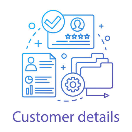 Customer details concept icon. Commercial information idea thin line illustration. Client identity. Customer relationship management. CRM software. Vector isolated outline drawing