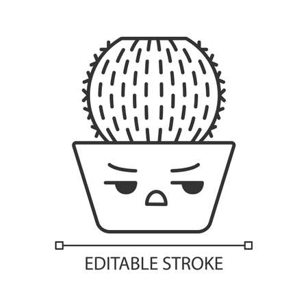 Barrel cactus cute kawaii linear character. Cactus with angry face. Echinocactus home cacti in pot. Plant with frowning eyebrows. Thin line icon. Vector isolated outline illustration. Editable stroke Çizim
