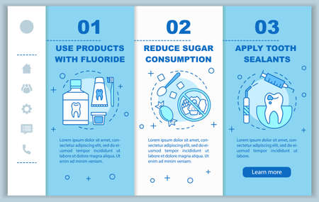 Caries prevention onboarding mobile web pages vector template. Dental care. Responsive smartphone website interface idea with linear illustrations. Webpage walkthrough step screens. Color concept