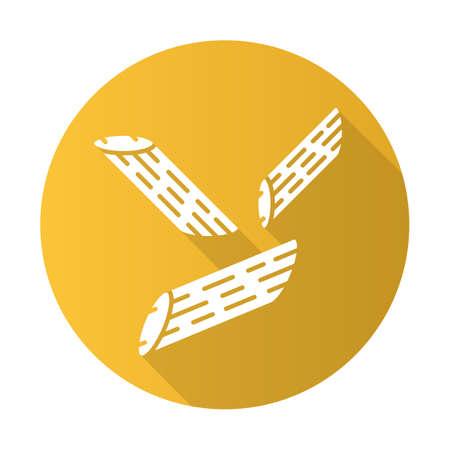 Penne flat design long shadow glyph icon. Italian dish. Short-cut pasta. Pennoni, mostaccioli. Straight cut diagonally macaroni. Mediterranean food. Type of noodles. Vector silhouette illustration