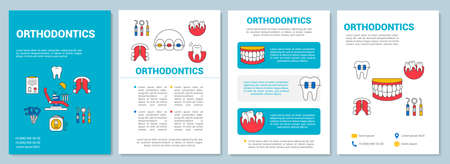 Orthodontics brochure template layout. Cosmetic dentistry. Flyer, booklet, leaflet print design with linear illustrations. Vector page layouts for magazines, annual reports, advertising posters Illustration