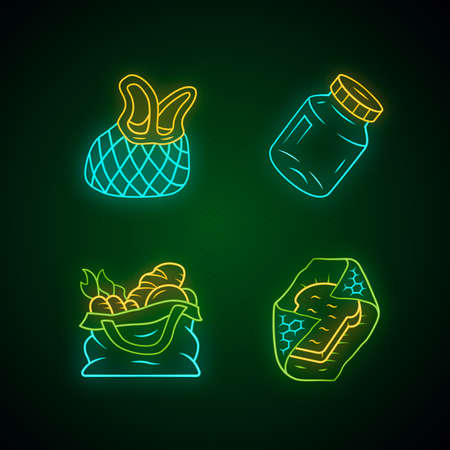 Zero waste kitchen utensils neon light icons set. Textile produce bag, mesh tote. Recyclable beeswax food wrap. Refillable spices container, mason jar. Glowing signs. Vector isolated illustrations