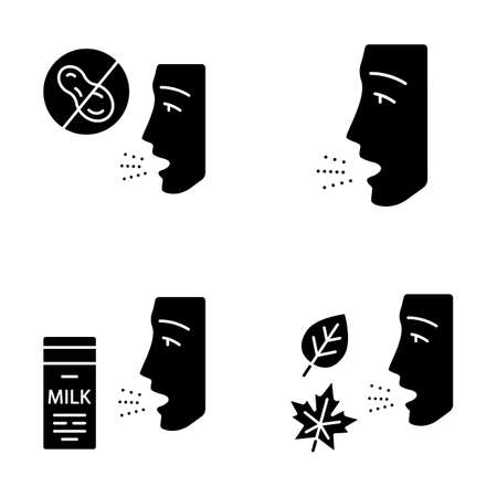 Allergies glyph icons set. Peanut, milk, dust, mold intolerance. Causes and symptoms of allergic diseases. Hypersensitivity of immune system. Silhouette symbols. Vector isolated illustration Ilustração