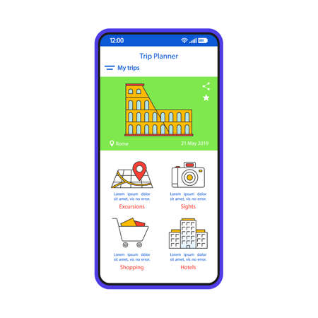 Trip planner smartphone interface template. Travel itinerary mobile app page layout. Sightseeing tour, hotel booking service screen. Vacation, holiday planning application flat UI. Phone display  イラスト・ベクター素材