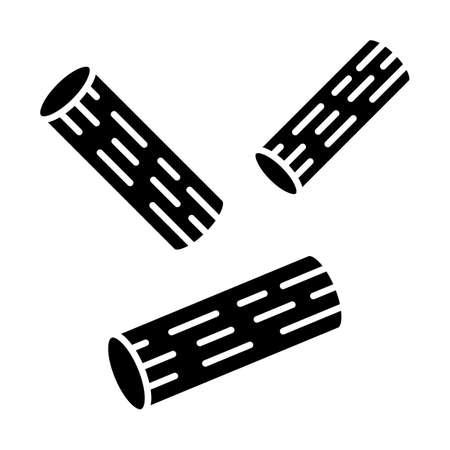 Rigatoni glyph icon. Traditional Italian macaroni. Sedani. Short-cut pasta. Mediterranean food. Semi-finished product for cooking. Silhouette symbol. Negative space. Vector isolated illustration Çizim
