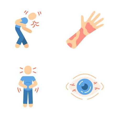 Conjunto de iconos de colores de larga sombra de diseño plano de síntomas de alergia estacional. Dermatitis de contacto, urticaria, vih. Conjuntivitis alérgica, enrojecimiento de los ojos. Dolor de estómago, náuseas. Ilustraciones de silueta vectorial