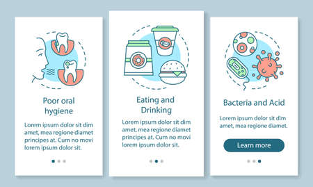 Tooth diseases causes onboarding mobile app page screen with linear concepts. Unhealthy lifestyle. Poor hygiene walkthrough steps graphic instructions. UX, UI, GUI vector template with illustrations