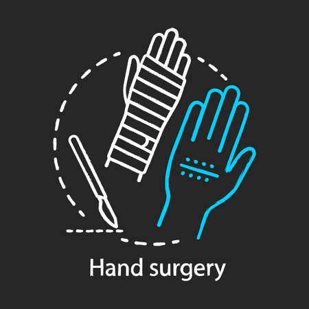 Hand surgery chalk icon. Orthopaedic surgery. Wrist, forearm problem. Joint replacement. Tendon and nerve repair. Plastic surgery subspecialty. Isolated vector chalkboard illustration