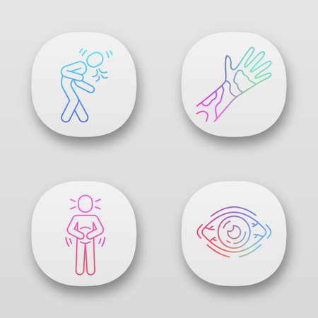 Seasonal allergy symptoms app icons set. Allergic conjunctivitis, dry eye. UI/UX user interface. Web or mobile applications. Stomach ache, sneezing, coughing. Vector isolated illustrations