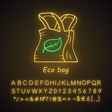 Eco bag neon light icon. Reusable textile. Organic, natural material. Eco friendly shopping handbag. Ecological fabric. Glowing sign with alphabet, numbers and symbols. Vector isolated illustration
