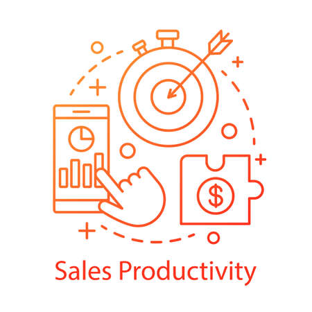 Sales productivity concept icon. Marketing strategy idea thin line illustration. Income increasing. Business management. CRM system. Financial growth. Vector isolated outline drawing