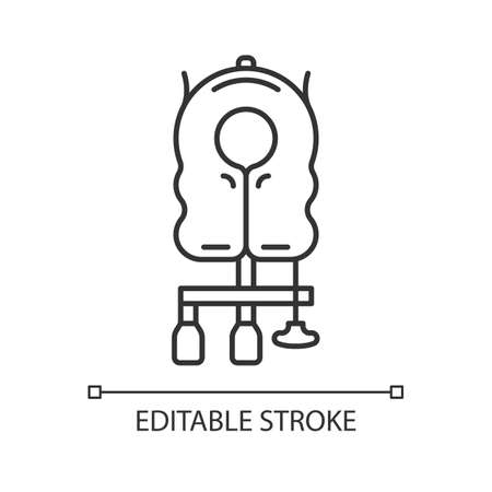 Aircraft passenger life vest linear icon. Airplane lifesaver. Plane safeness. Safety measure. Aviation service. Thin line illustration. Contour symbol. Vector isolated outline drawing. Editable stroke
